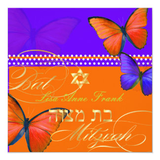 PixDezines retro Papillon, Bat Mitzvah 13 Cm X 13 Cm Square Invitation Card