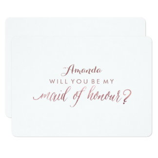 PixDezines Rose Gold Will You Be My Maid.. 13 Cm X 18 Cm Invitation Card