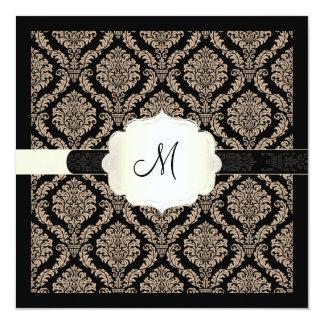 PixDezines Rosette Damask/beige/DIY colors 13 Cm X 13 Cm Square Invitation Card