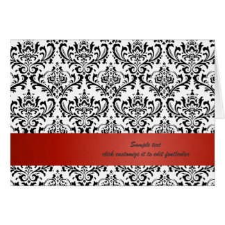 PixDezines Rossi Damask, Red/DIY background color Note Card