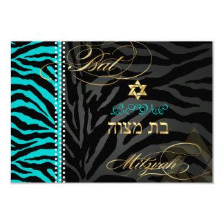 PixDezines rsvp DIY color Teal Zebra, Bat Mitzvah Card