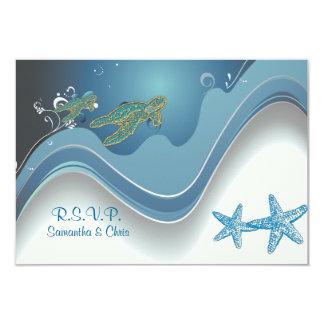 PixDezines rsvp honu+waves 9 Cm X 13 Cm Invitation Card