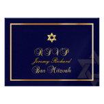 PixDezines rsvp Star, Bar Mitzvah/navy blue+gold Personalised Invitation