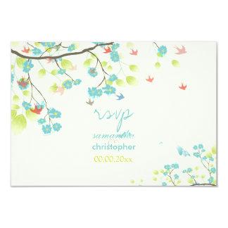 PixDezines rsvp teal cherry blossom/diy background 9 Cm X 13 Cm Invitation Card