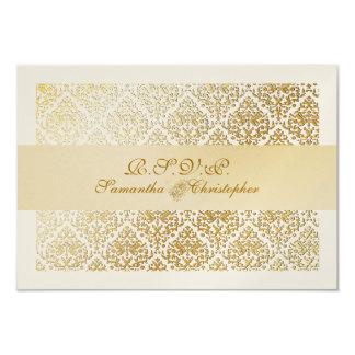 PixDezines rsvp vavin damask/champagne 9 Cm X 13 Cm Invitation Card