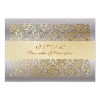 PixDezines rsvp vavin damask/champagne+silver 9 Cm X 13 Cm Invitation Card