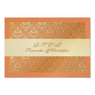 PixDezines rsvp vavin damask/diy tangerine color 9 Cm X 13 Cm Invitation Card