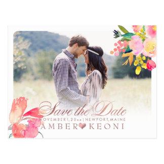 PixDezines Spring Floral Save the Date/Rose Gold Postcard