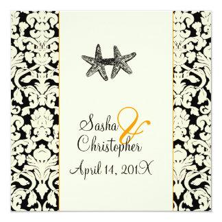 PixDezines starfish+damask/diy colors 13 Cm X 13 Cm Square Invitation Card