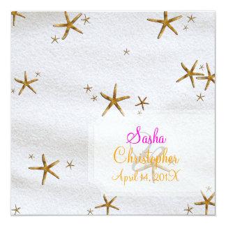 PixDezines Starfish+white sand/beach wedding 13 Cm X 13 Cm Square Invitation Card