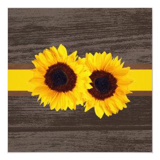 PixDezines sunflower/wood panels 13 Cm X 13 Cm Square Invitation Card