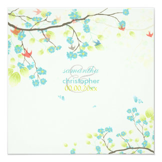 PixDezines teal cherry blossom/diy background 13 Cm X 13 Cm Square Invitation Card