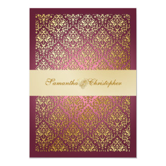PixDezines vavin damask/champagne/diy background 13 Cm X 18 Cm Invitation Card