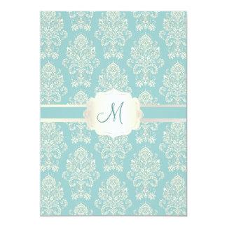 PixDezines Victorian Damask/blue/DIY color 13 Cm X 18 Cm Invitation Card