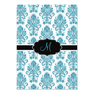 PixDezines Victorian Damask/blue tones/DIY color 13 Cm X 18 Cm Invitation Card