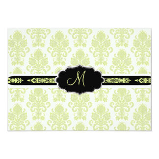 PixDezines Victorian Damask/Chartreuse/DIY color 13 Cm X 18 Cm Invitation Card