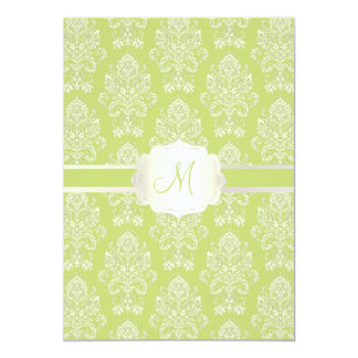 PixDezines Victorian Damask/green/DIY color 13 Cm X 18 Cm Invitation Card
