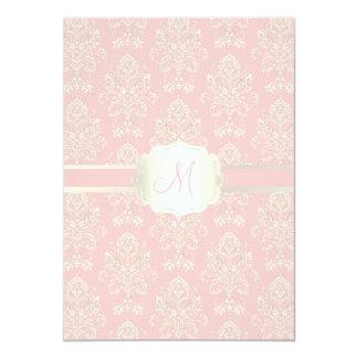 PixDezines Victorian Damask/pale pink/DIY color 13 Cm X 18 Cm Invitation Card
