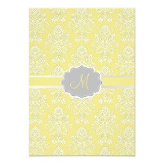 PixDezines Victorian Damask/yellow+grey/DIY color 13 Cm X 18 Cm Invitation Card