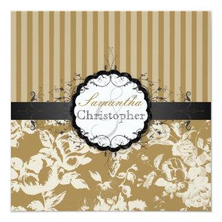 "PixDezines Victorian Rose+Stripes/DIY Color 5.25"" Square Invitation Card"