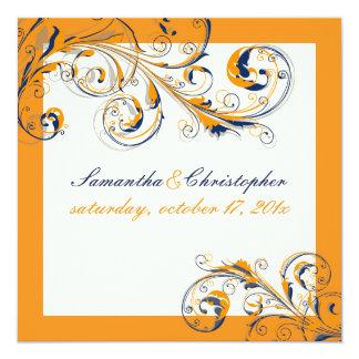 PixDezines Vine Swirls|orange+navy blue|DIY color 13 Cm X 13 Cm Square Invitation Card