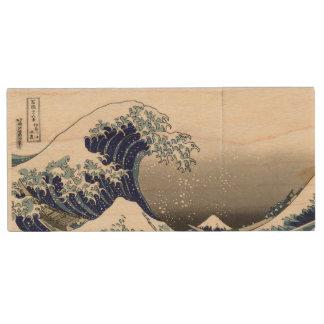PixDezines Vintage, Great Wave, Hokusai 葛飾北斎の神奈川沖浪 Wood USB 2.0 Flash Drive