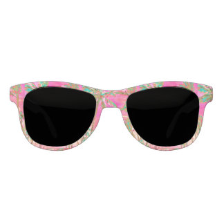 PixDezines Vintage Hawaiian Beach/Pink+Teal Sunglasses