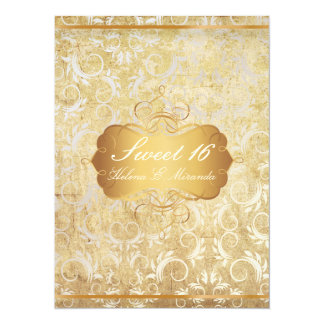 PixDezines vintage sweet 16/princess/damask 14 Cm X 19 Cm Invitation Card