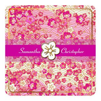 PixDezines/wild berries sakura/faux chirimen 5.25x5.25 Square Paper Invitation Card