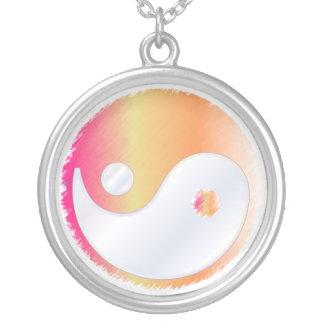PixDezines Yin Yang, Pink+Orange Round Pendant Necklace