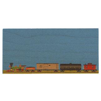 Pixel Art Locomotives Wood USB 3.0 Flash Drive