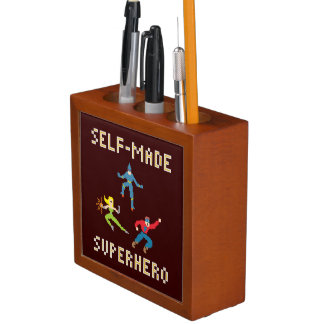 Pixel Art Superheroes Desk Organizers