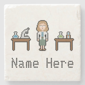 Pixel Custom Female Scientist Stone Coaster