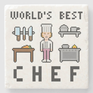 Pixel Female Chef Stone Coaster