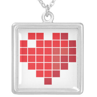 Pixel Heart Silver Plated Necklace