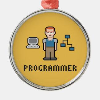 Pixel Programmer Premium Round Ornament