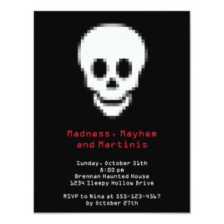 Pixel white skull digital type Halloween party Card