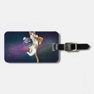 Pizza cat - space cat - in space - cat lover luggage tag