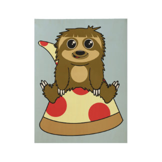 Pizza Sloth Wood Poster