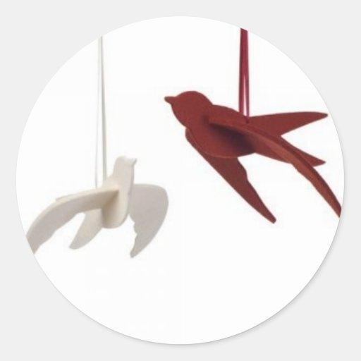 pkhs_birds_white_red_LRG Round Sticker