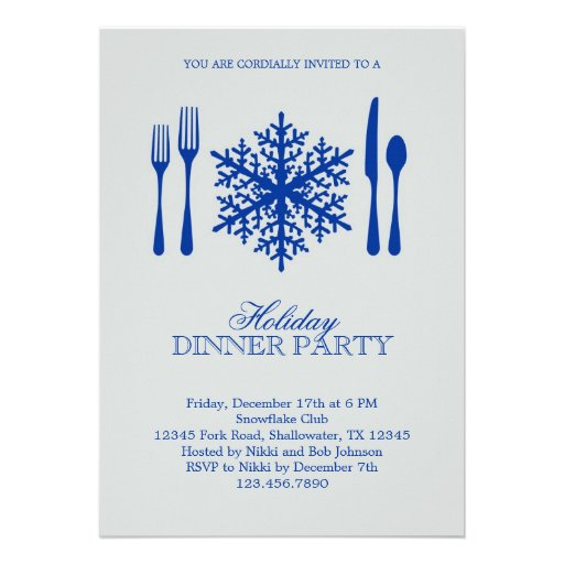 Place Setting Christmas Dinner Party Invitation
