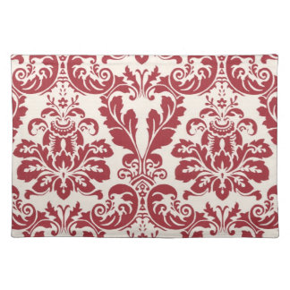 Placemat...red and white damask placemat