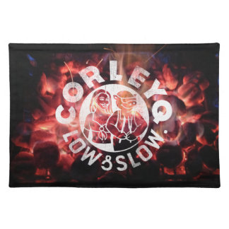 "Placemats (20"" x 14"") with CorleyQ ""fire"" design."