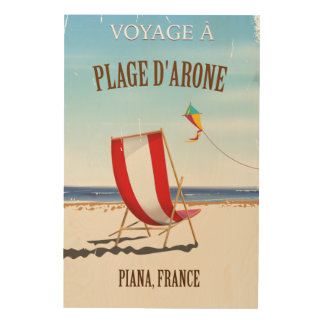 Plage d'Arone ,France vintage poster Wood Canvases