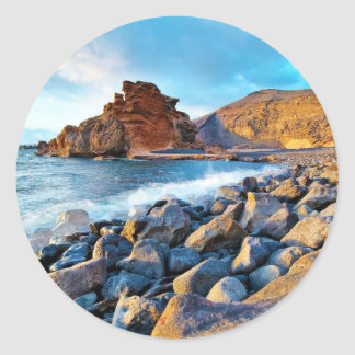 Plage de El Golfo Plages de Lanzarote Espagne Classic Round Sticker