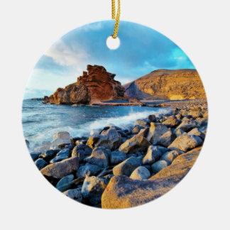Plage de El Golfo Plages de Lanzarote Espagne Round Ceramic Decoration