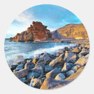 Plage de El Golfo Plages de Lanzarote Espagne Round Sticker