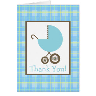 Plaid & Blue Carriage Baby Shower Thank You Greeting Card