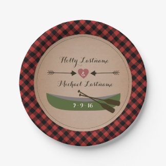 Plaid Canoe + Arrows Rustic Wedding 7 Inch Paper Plate