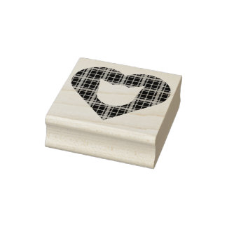Plaid Cat Heart Rubber Stamp